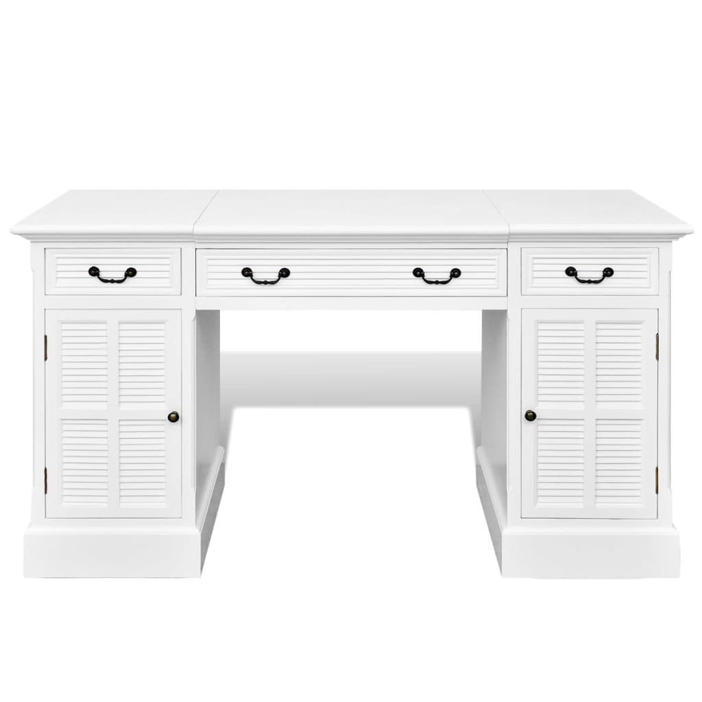 White Double Pedestal Desk with Cabinets and Drawers ...