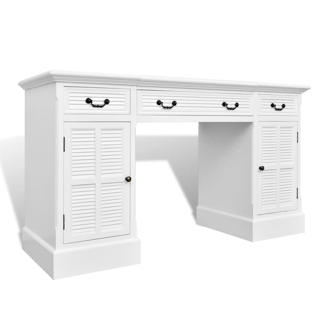 la boutique en ligne bureau blanc double pi destal avec armoires et tiroirs. Black Bedroom Furniture Sets. Home Design Ideas