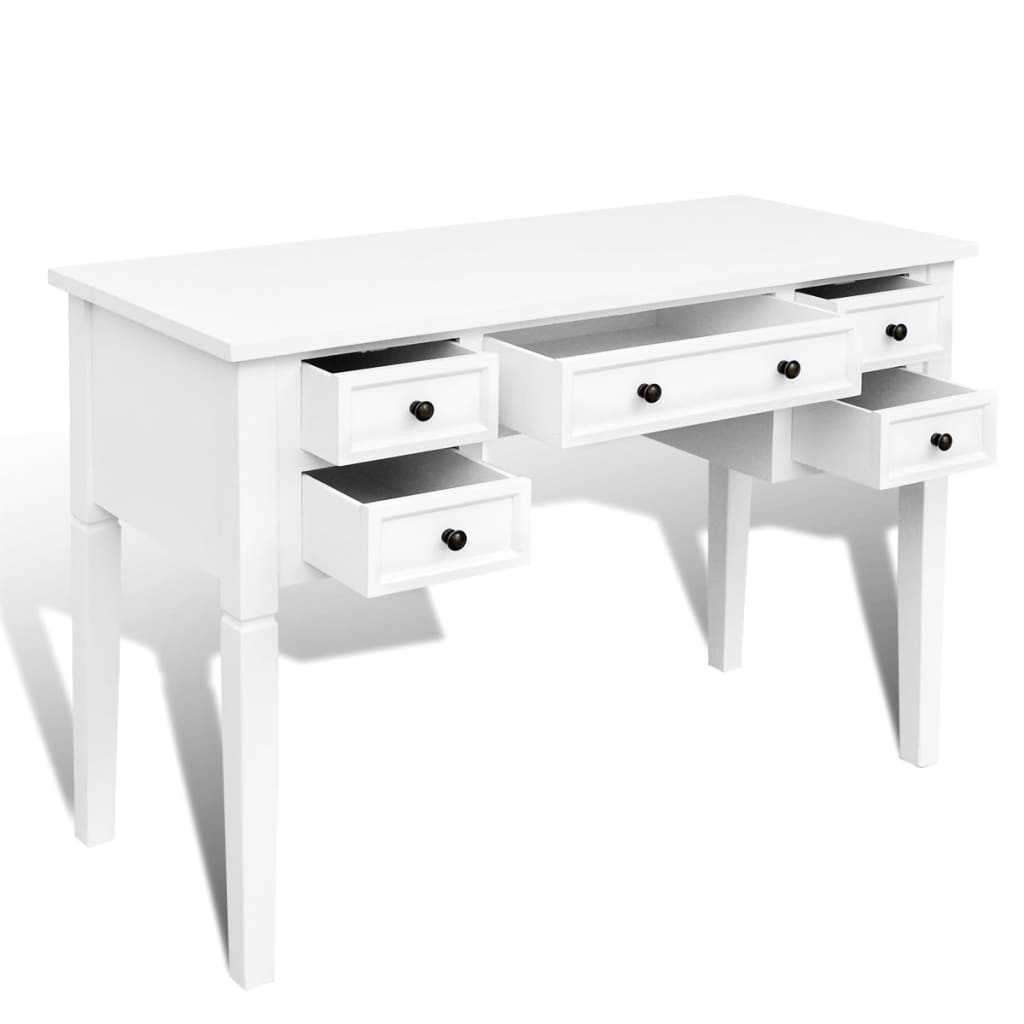 110cm White Office Writing Desk With 5 Drawers