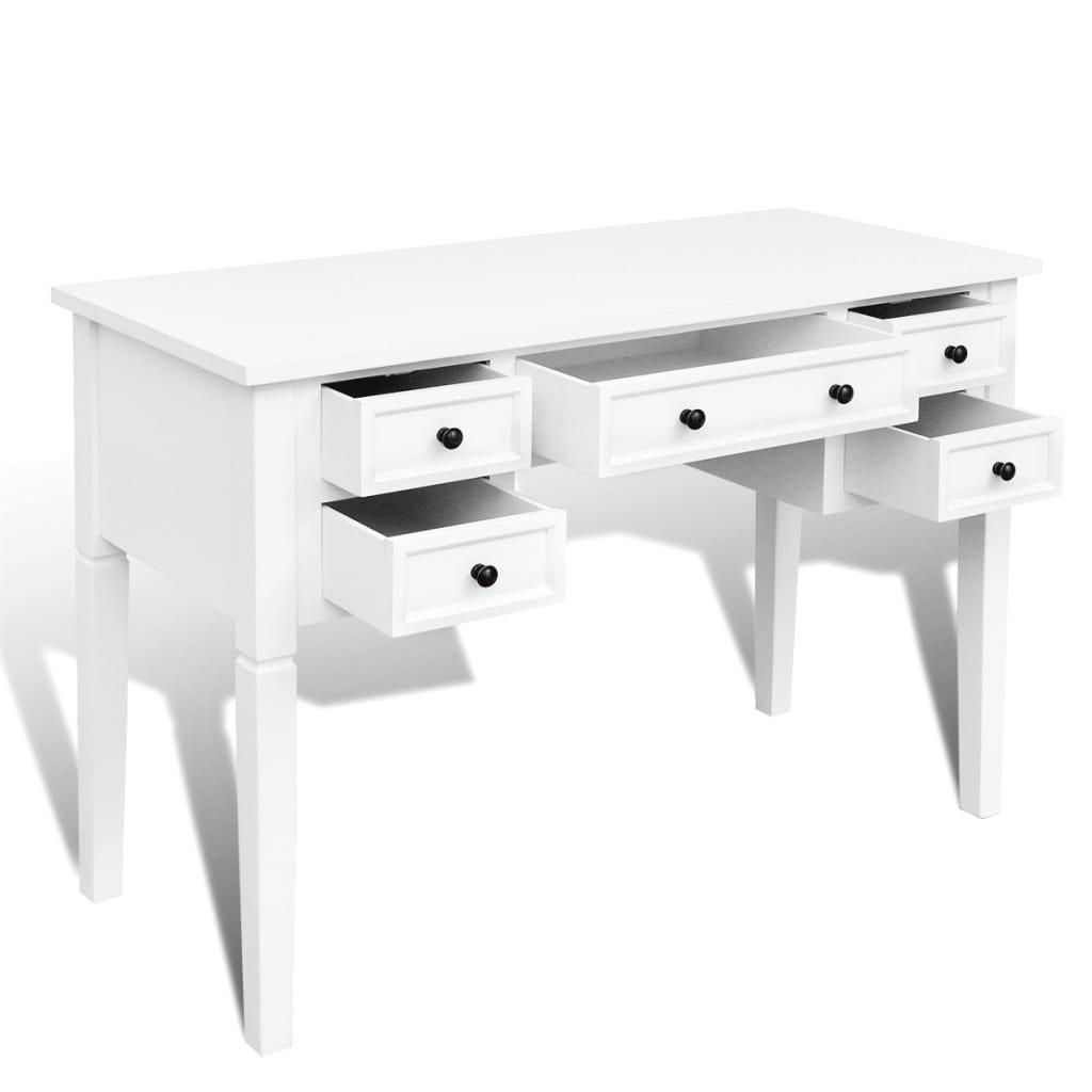 La boutique en ligne bureau blanc 5 tiroirs for Bureau 6 tiroirs
