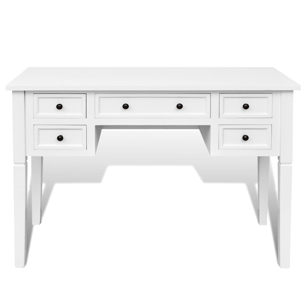 vidaXL.co.uk | White Writing Desk with 5 Drawers