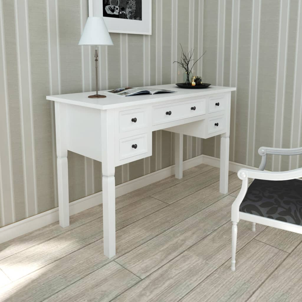 vidaxl-white-writing-desk-with-5-drawers