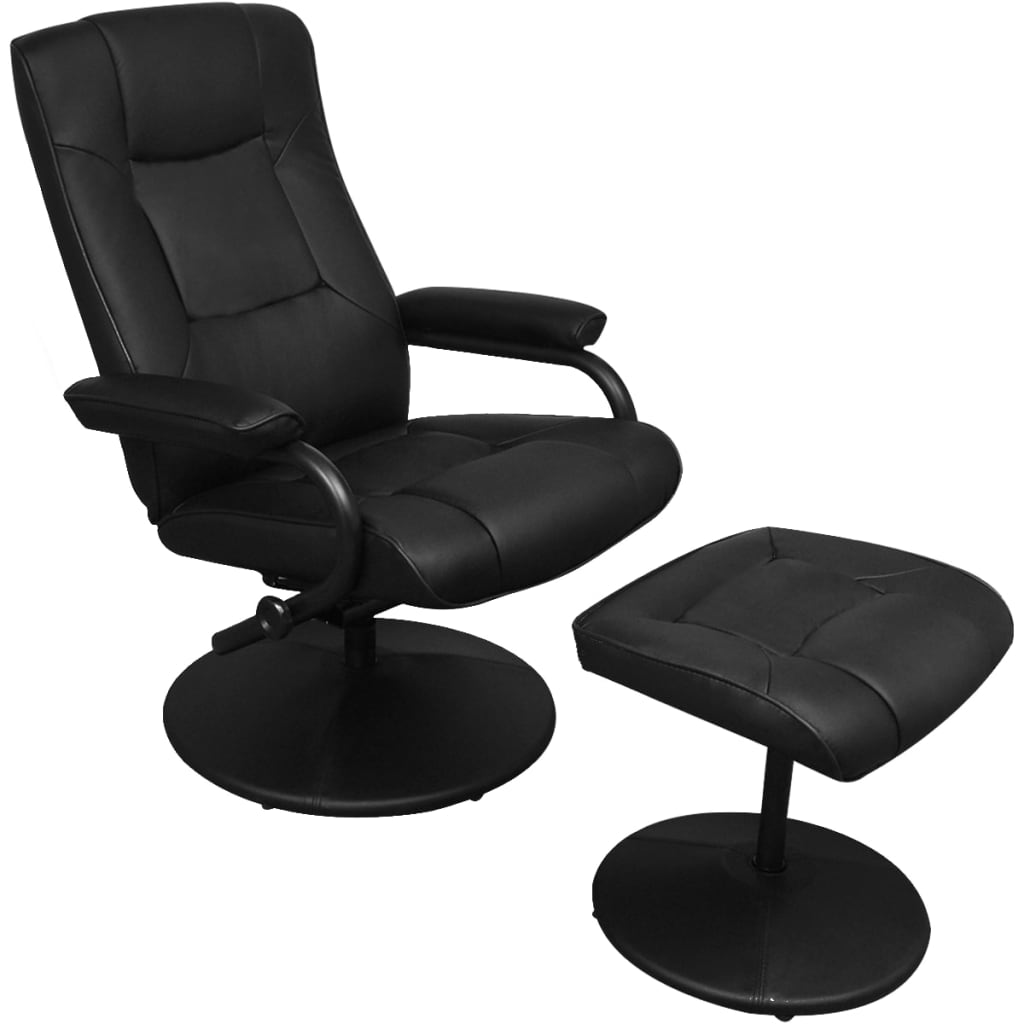 vidaXL Műbőr TV karosszék / fotel lábtartóval fekete