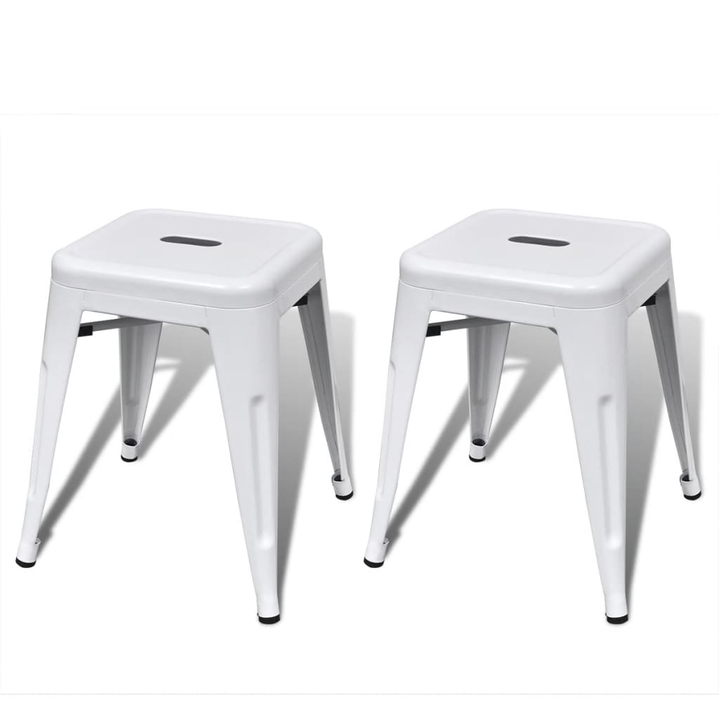 2 pcs white stackable small metal stool. Black Bedroom Furniture Sets. Home Design Ideas