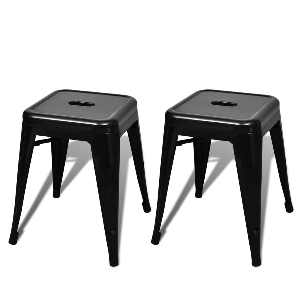 2 pcs black stackable small metal stool. Black Bedroom Furniture Sets. Home Design Ideas