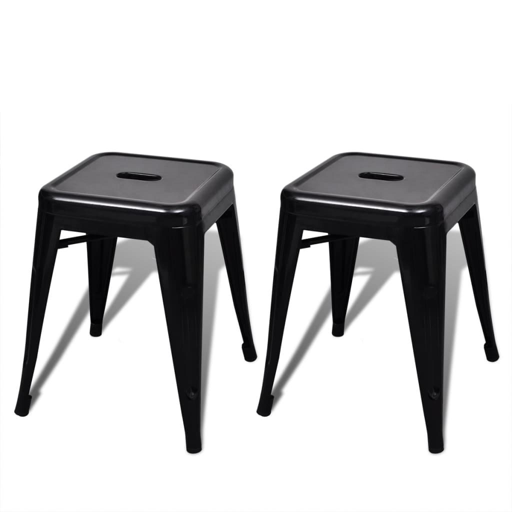 kleiner sitzhocker stapelbar stapelstuhl 2 st ck schwarz. Black Bedroom Furniture Sets. Home Design Ideas