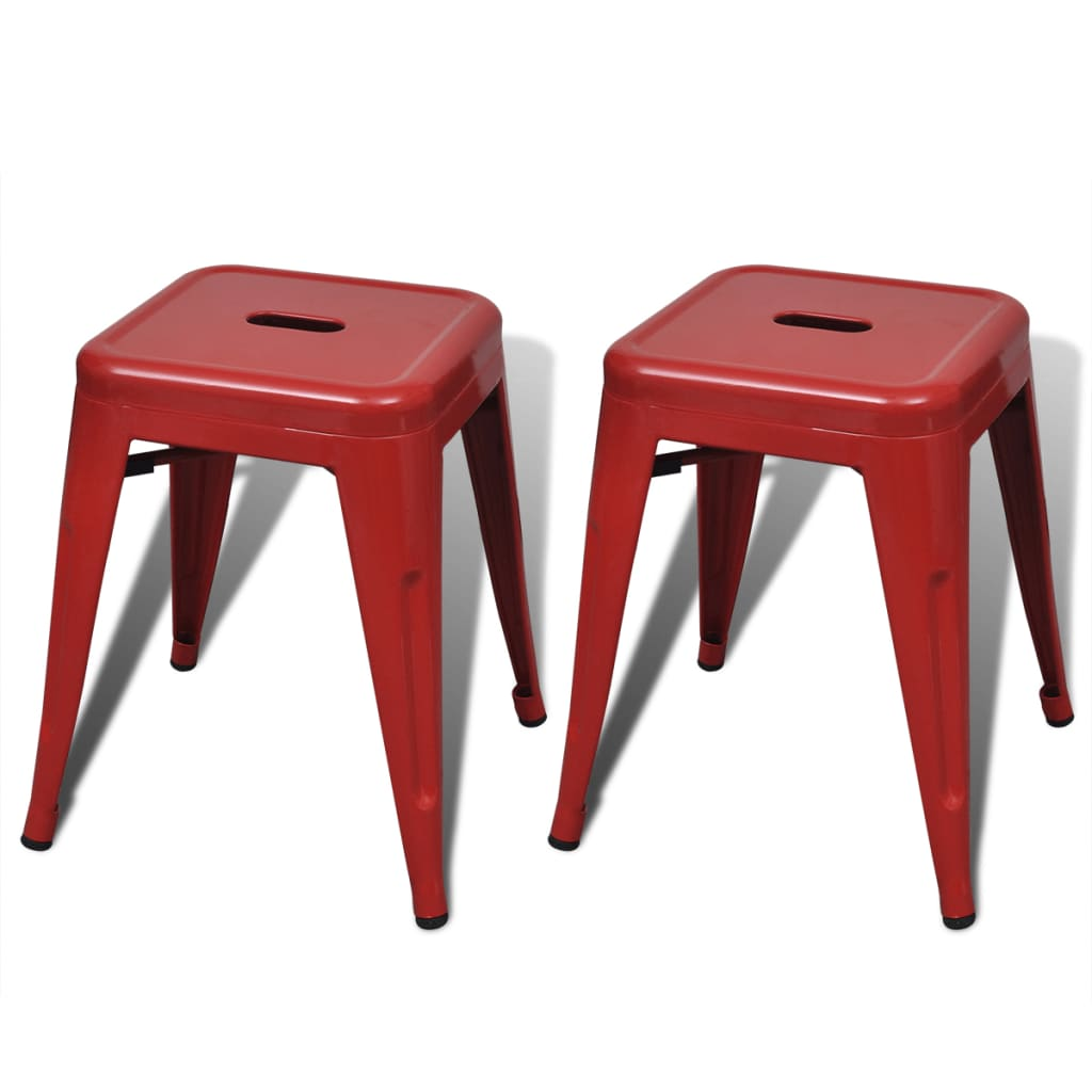 2 Pcs Red Stackable Small Metal Stool Vidaxl Com