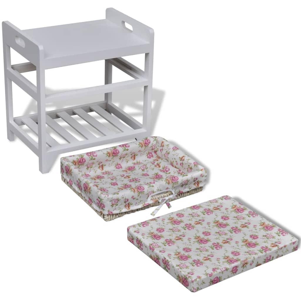 acheter tabouret en bois avec rack pour chaussures et panier de rangement pas cher. Black Bedroom Furniture Sets. Home Design Ideas