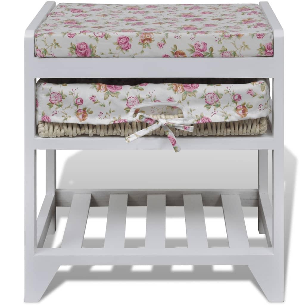la boutique en ligne tabouret en bois avec rack pour chaussures et panier de rangement. Black Bedroom Furniture Sets. Home Design Ideas