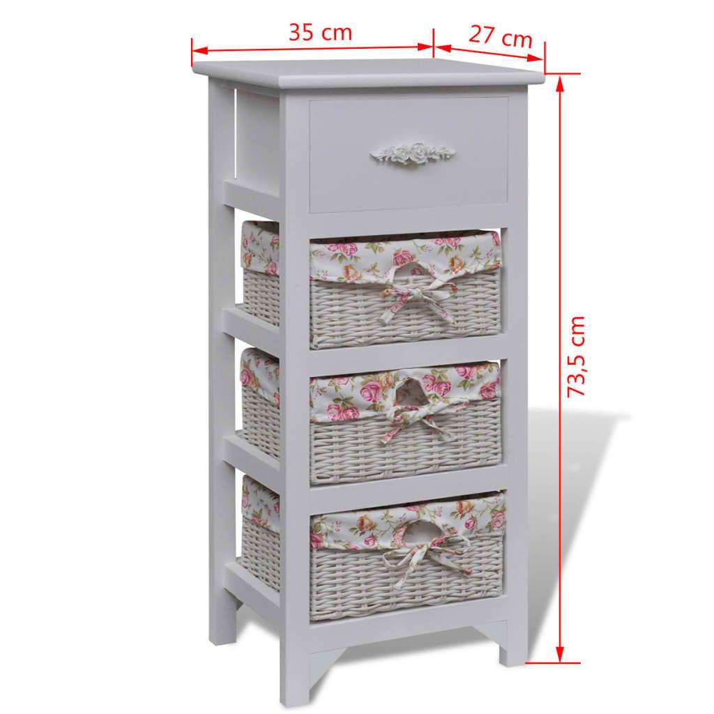 kommode mit 1 schublade und 3 k rben wei g nstig kaufen. Black Bedroom Furniture Sets. Home Design Ideas