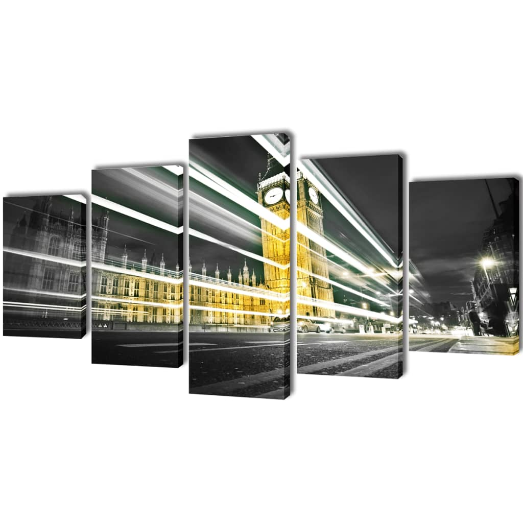 vidaXL Nyomtatott vászon falikép szett London Big Ben 200 x 100 cm