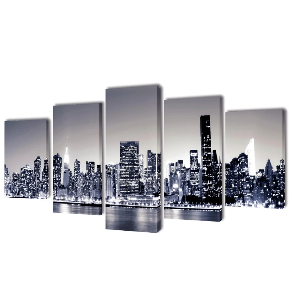 canvas wall print set monochrome new york skyline 79 x 39. Black Bedroom Furniture Sets. Home Design Ideas
