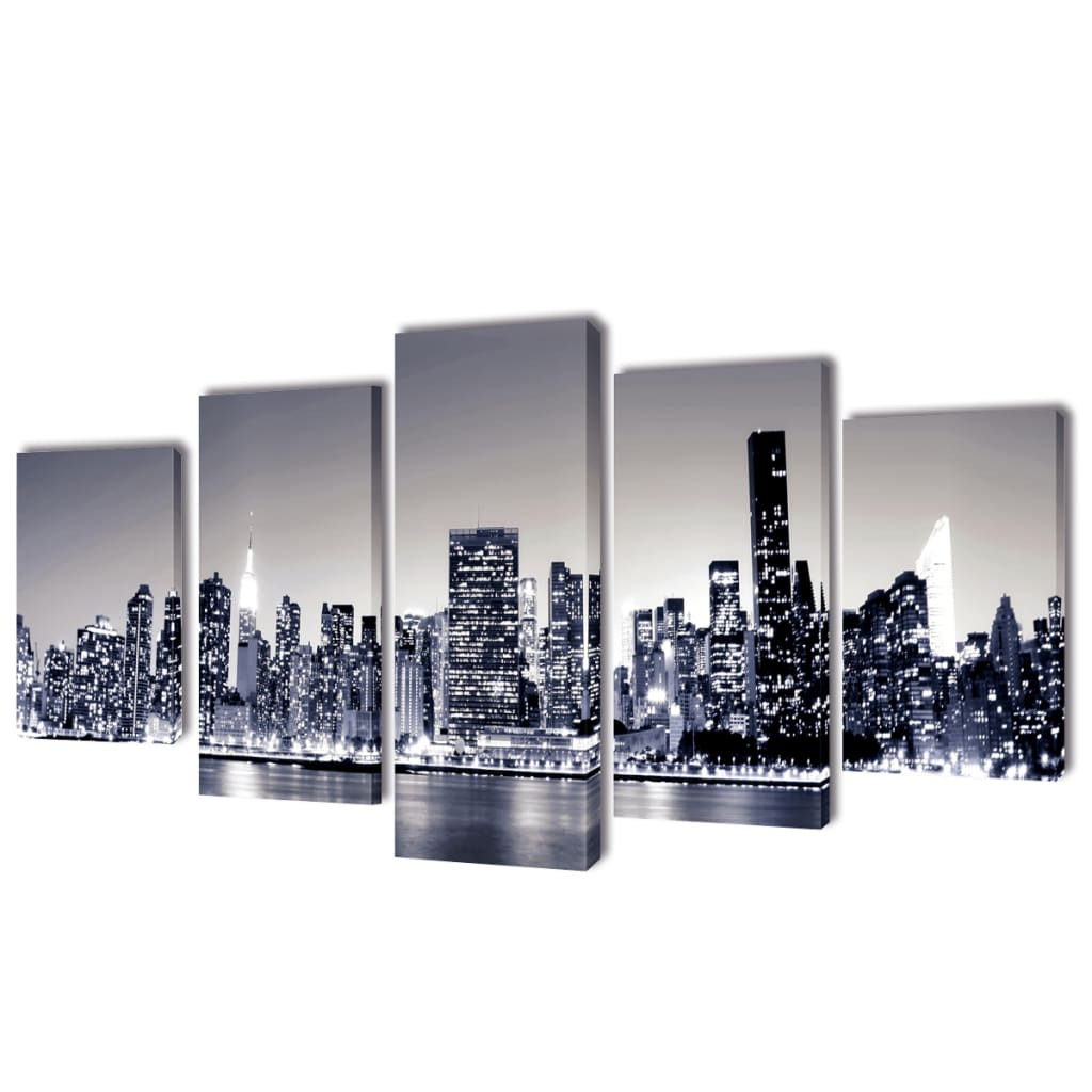 vidaXL Bilder Dekoration Set monochrome New York 200 x 100 cm