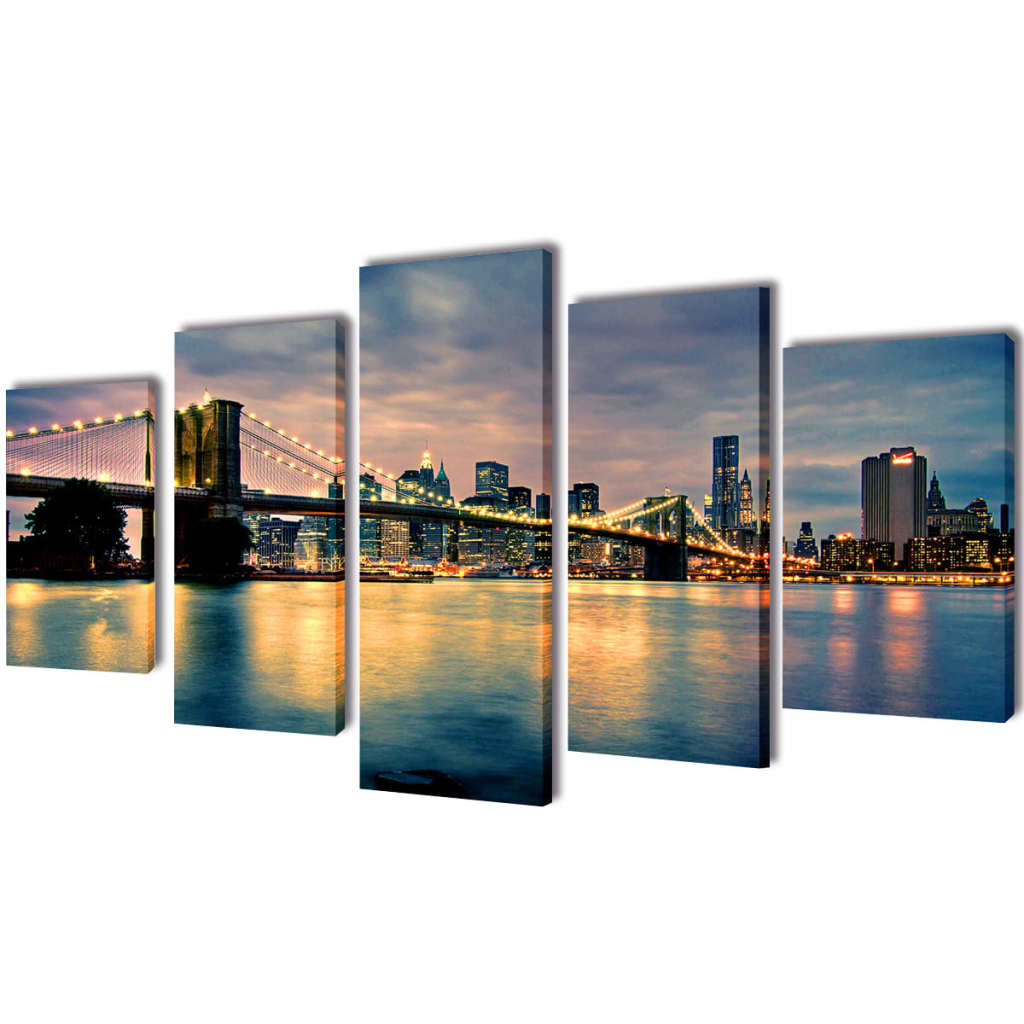 bilder dekoration set brooklyn bridge seeblick 200 x 100 cm g nstig kaufen. Black Bedroom Furniture Sets. Home Design Ideas