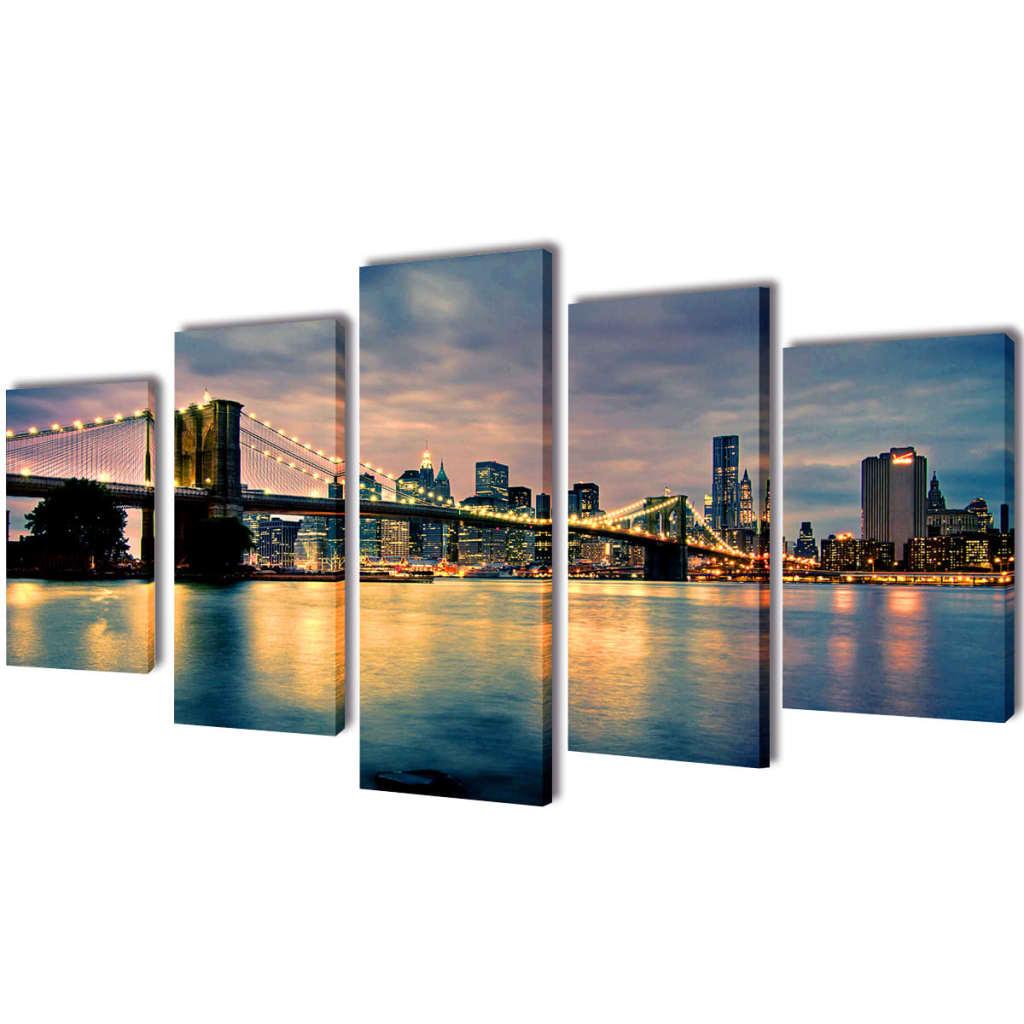 Uppsättning väggbonader på duk: Brooklyn Bridge med flodvy 200 x 100 cm