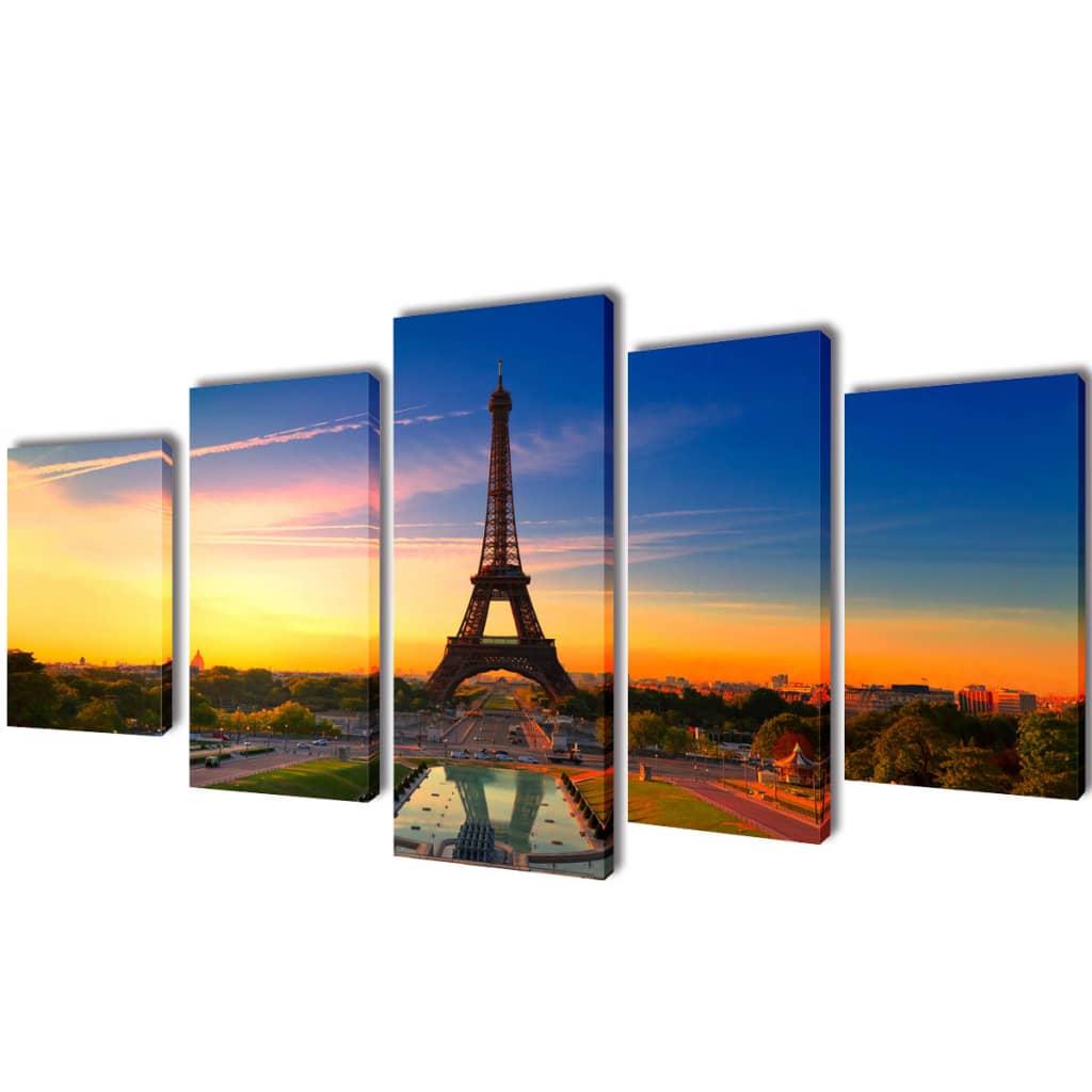Uppsättning väggbonader på duk: Eiffeltornet 100 x 50 cm