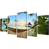 "Canvas Wall Print Set Sand Beach with Hammock 39"" x 20"""