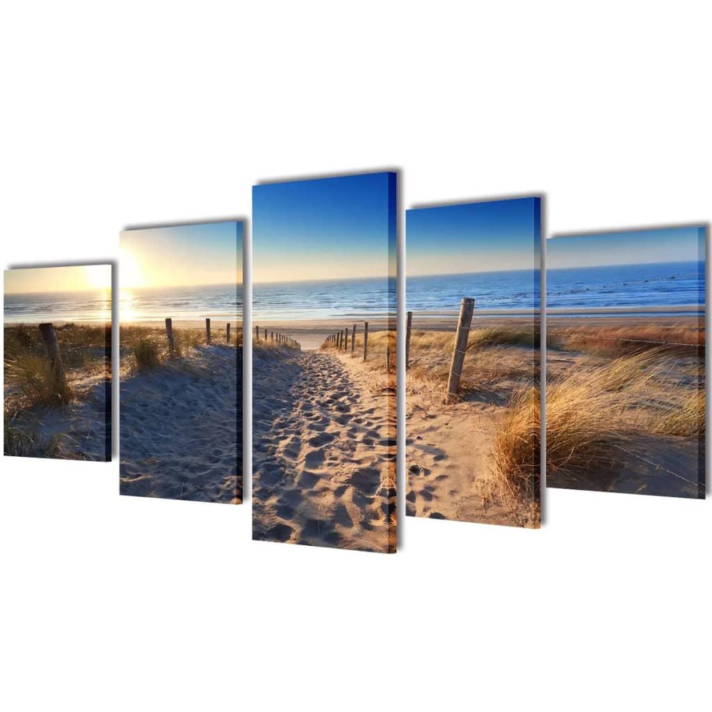 vidaXL Vászon falikép szett homokos tengerpart 200 x 100 cm
