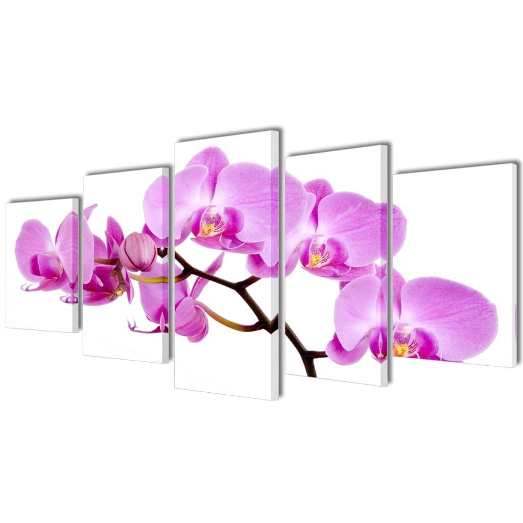 vidaXL Nyomtatott vászon falikép szett orchidea 200 x 100 cm