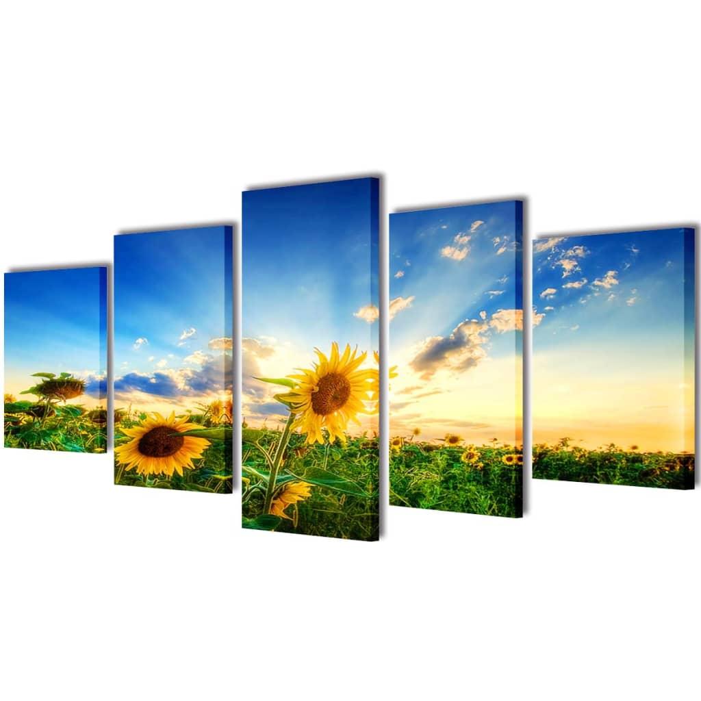 Uppsättning väggbonader på duk: solros 200 x 100 cm