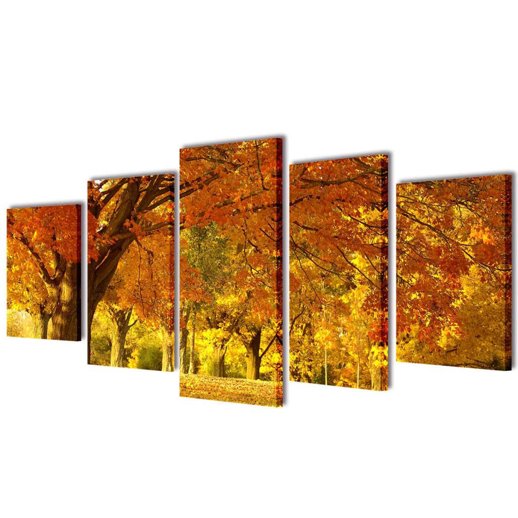 vidaXL Nyomtatott vászon falikép szett juharfa 100 x 50 cm