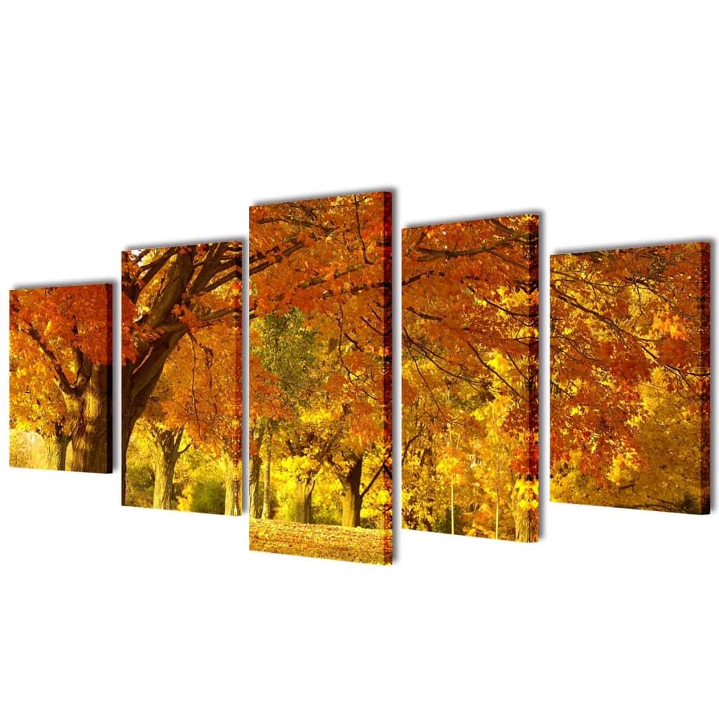 vidaXL Nyomtatott vászon falikép szett juharfa 200 x 100 cm