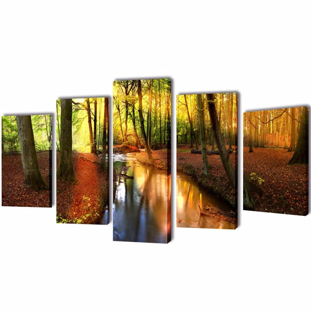 vidaXL Bilder Dekoration Set Wald 100 x 50 cm