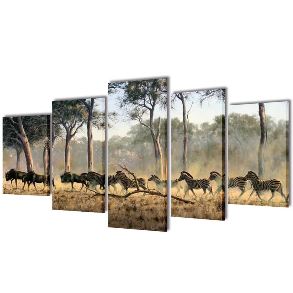 vidaXL Nyomtatott vászon falikép szett zebrák 200 x 100 cm