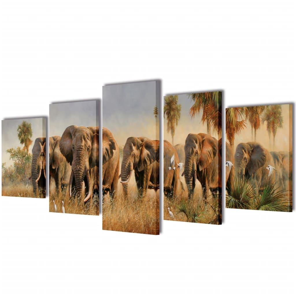 vidaXL Nyomtatott vászon falikép szett elefántok 200 x 100 cm