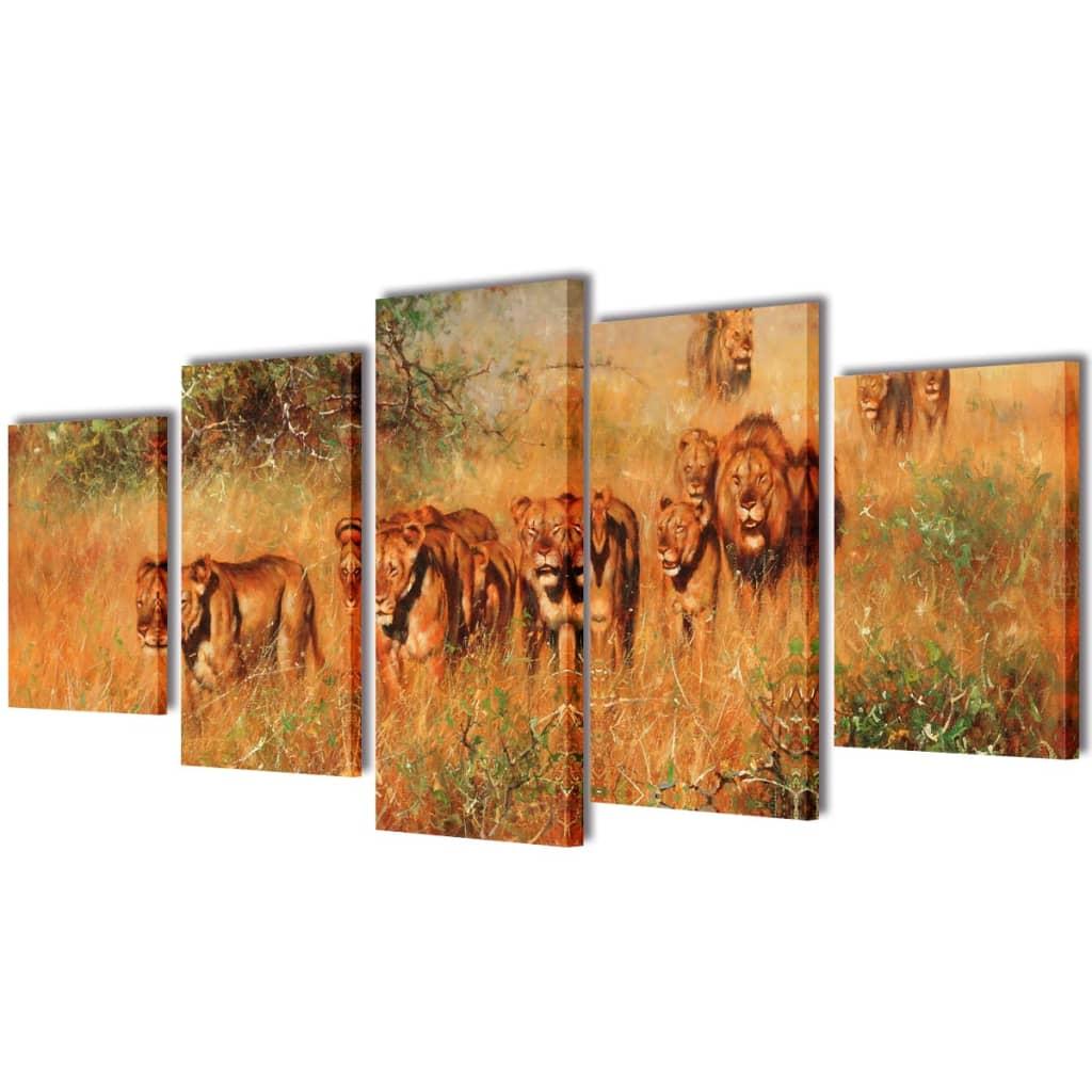 Uppsättning väggbonader på duk: lejon 100 x 50 cm