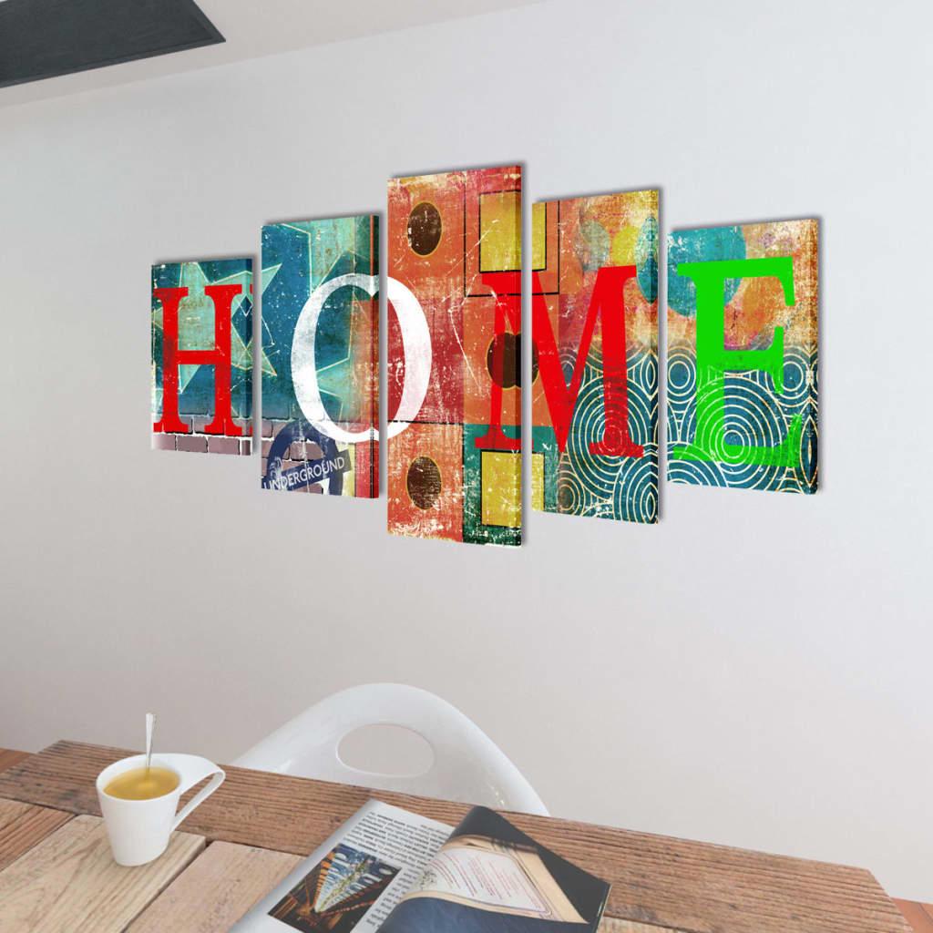 Canvas wall print set colourful home design 100 x 50 cm 50s home decor uk