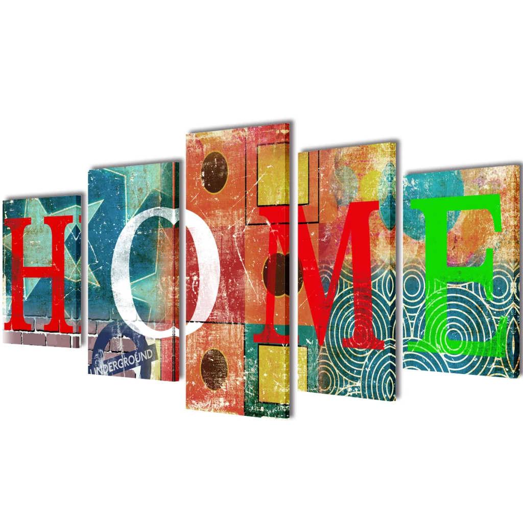 vidaXL Nyomtatott vászon falikép szett HOME felirattal 100 x 50 cm