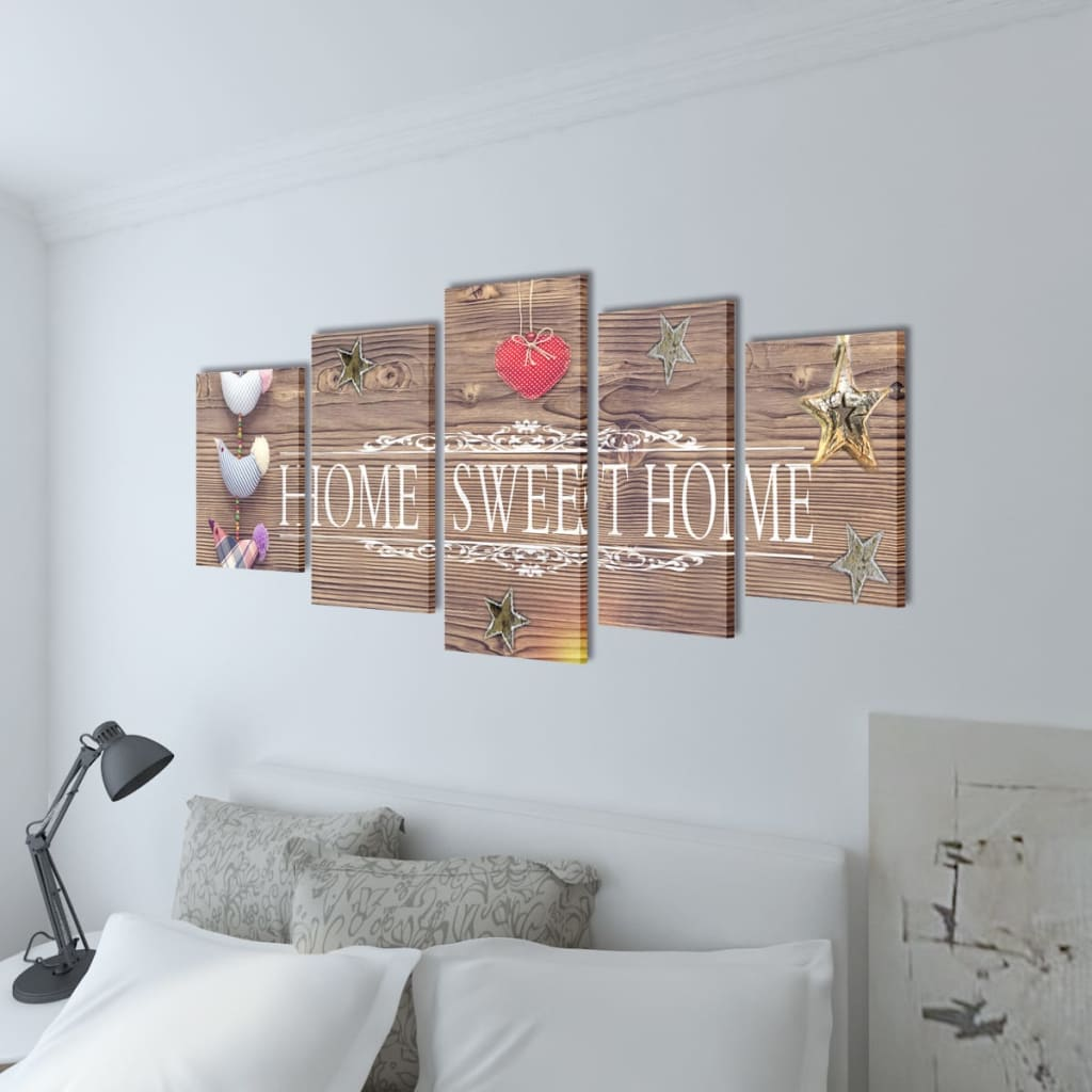 Canvas wall print set home sweet home design 39 x 20 for Decoration murale toile