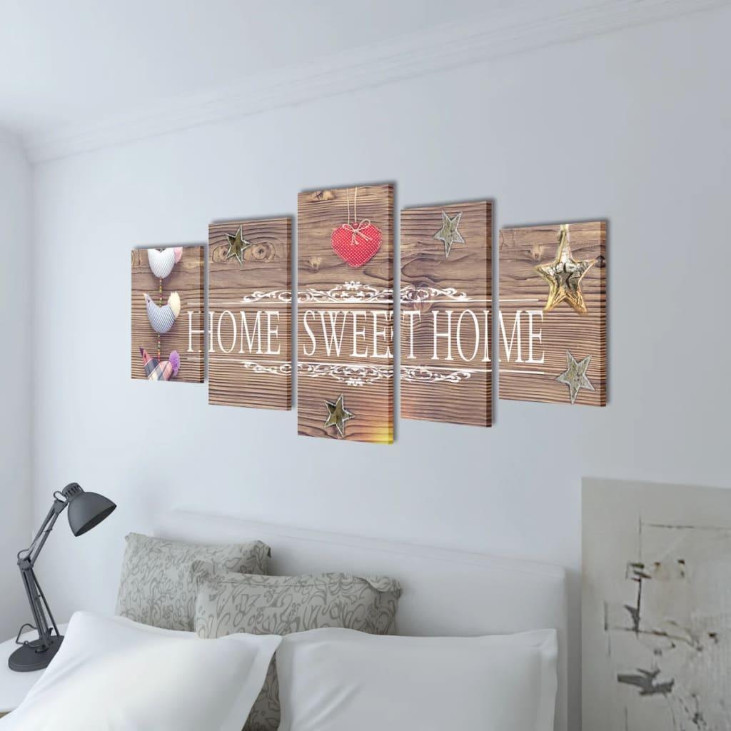 Canvas Wall Print Set Home Sweet Home Design 39 X 20