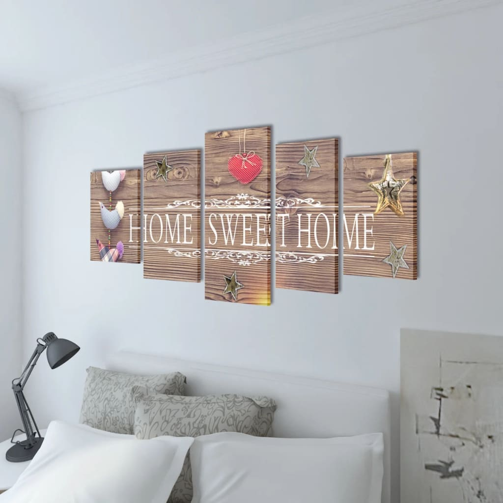 Canvas wall print set home sweet home design 200 x 100 cm - Home sweet home designs ...
