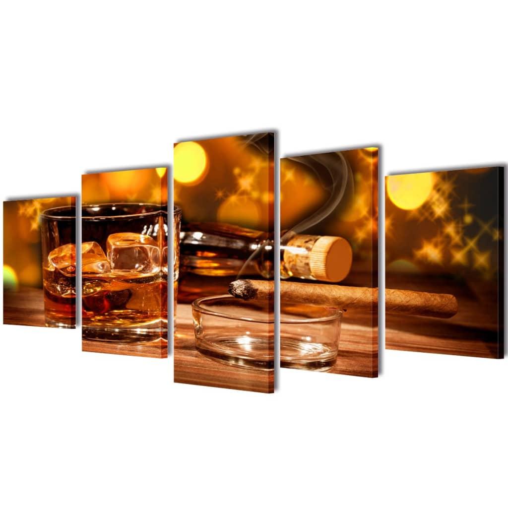 vidaXL Nyomtatott vászon falikép szett whiskey és szivar 100 x 50 cm