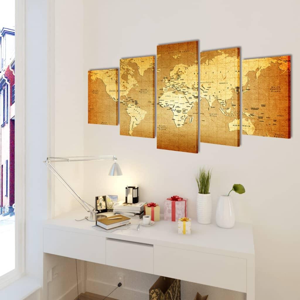 canvas wall print set world map 100 x 50 cm vidaxl