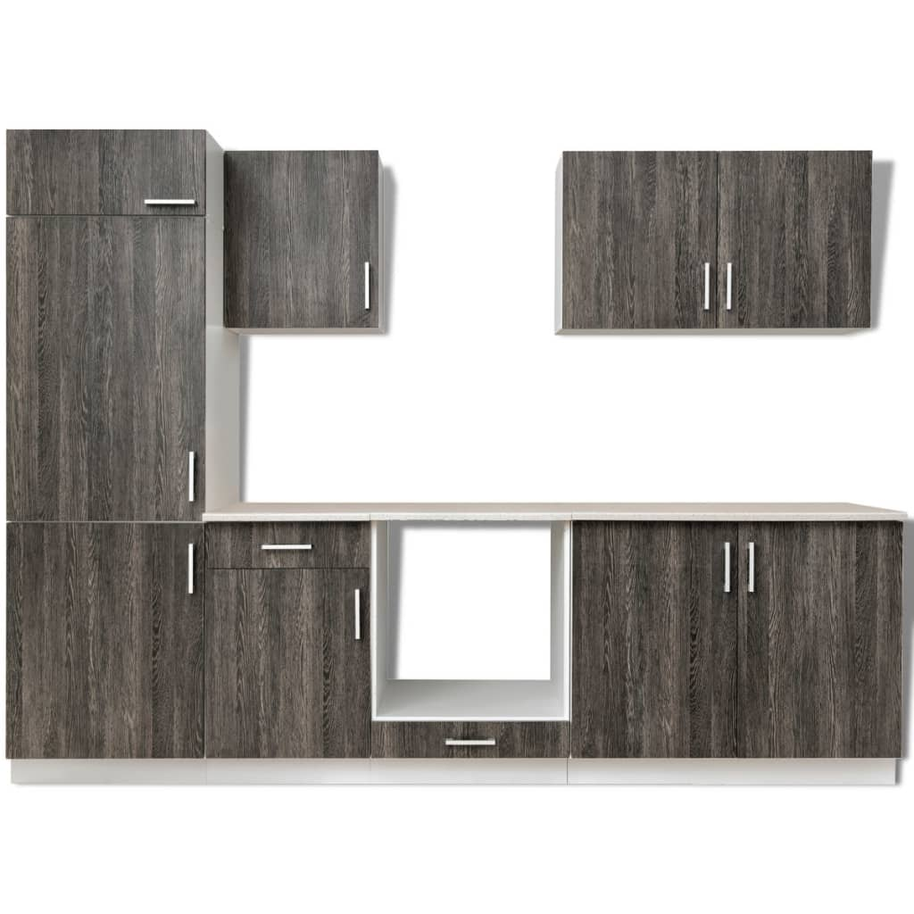 k chenzeile in wenge optik mit schrank f r einbauk hlschrank 7 teilig g nstig kaufen. Black Bedroom Furniture Sets. Home Design Ideas