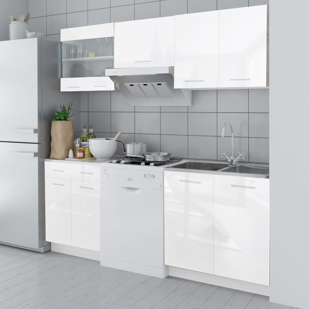 White Kitchen Cabinets High Gloss: 5 Pcs High Gloss White Kitchen Cabinet Unit