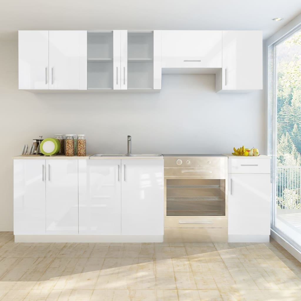 White Kitchen Cabinets High Gloss: 7 Pcs High Gloss White Kitchen Cabinet Unit
