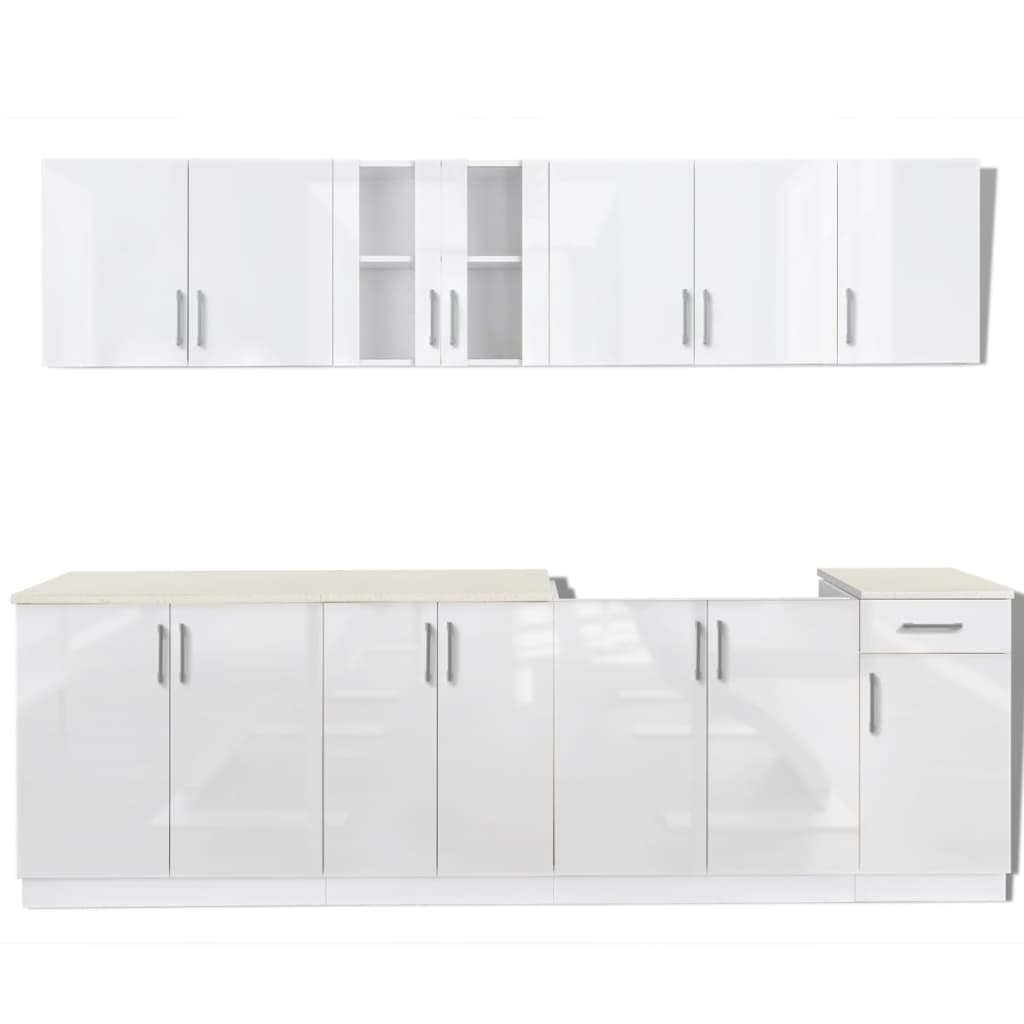 8 pcs high gloss white kitchen cabinet unit for Kitchen cabinets 700mm high