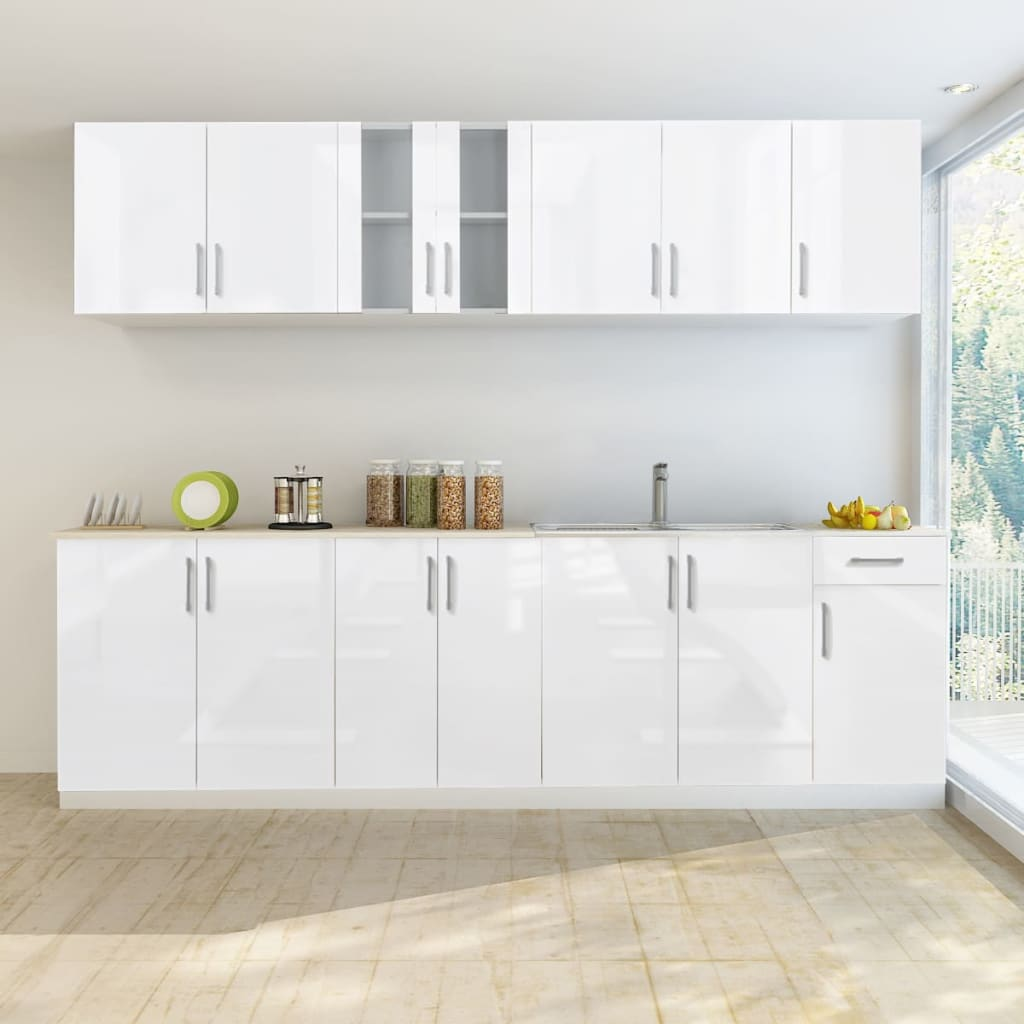 New High Gloss White Kitchen Cabinet Unit 200cm/240cm/260cm/260cm with Sink Base