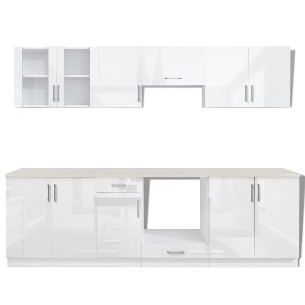 vidaxl 8tlg k chenzeile einbauk che k chenschrank k che hochglanz wei 260 cm ebay. Black Bedroom Furniture Sets. Home Design Ideas