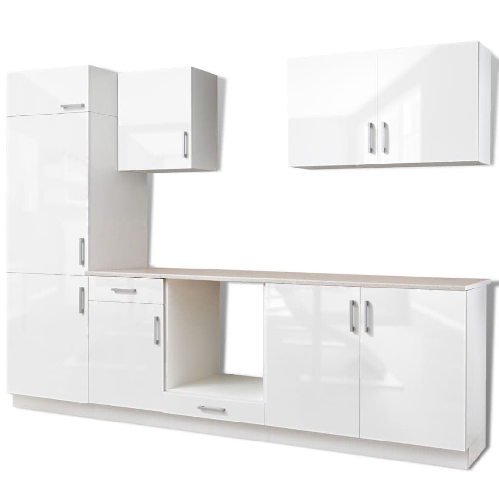 7 pcs high gloss white kitchen cabinet unit for built in fridge 270 cm. Black Bedroom Furniture Sets. Home Design Ideas
