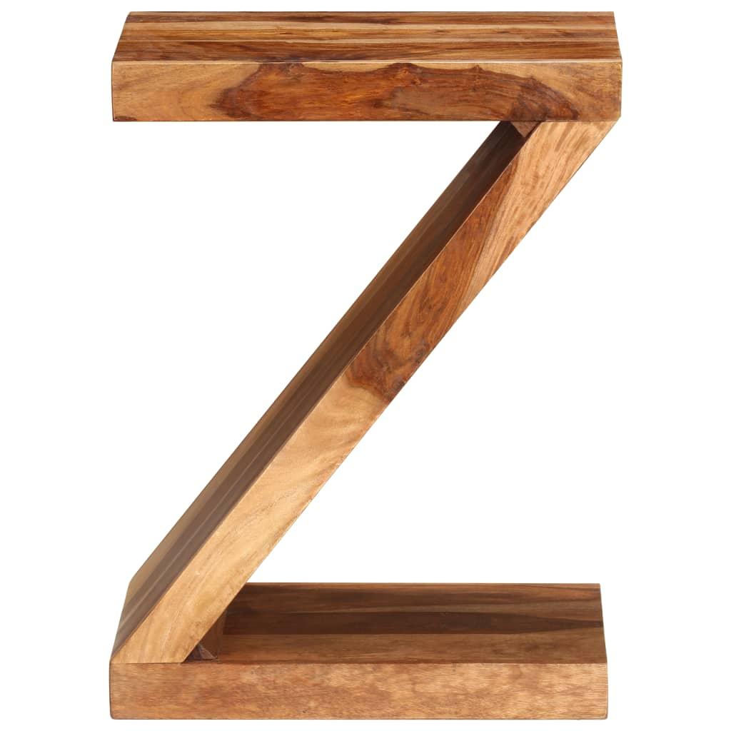 Sheesham solid wood z shaped side table vidaxl