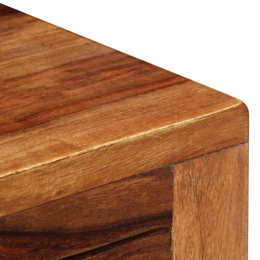 Mesita de noche con dos cajones de madera maciza de - Mesitas de noche en madera ...