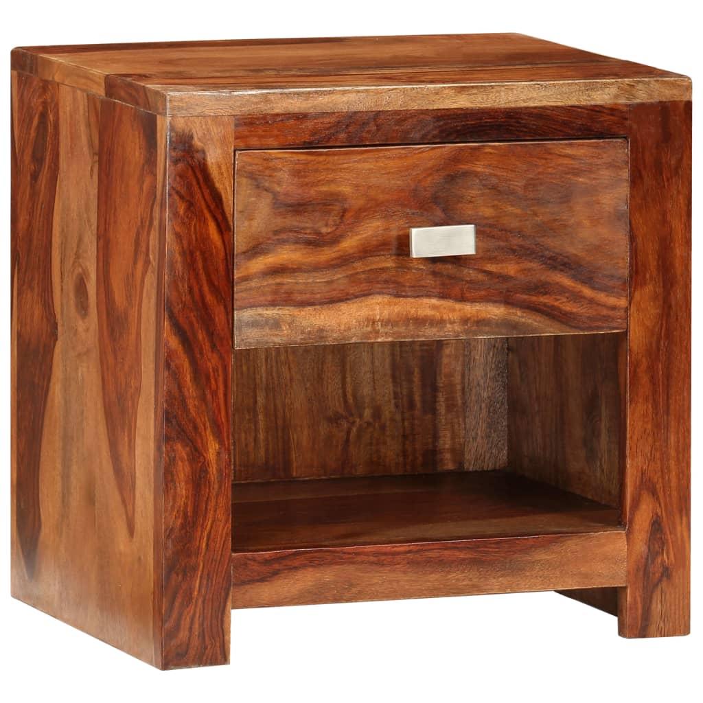 nachttisch aus shishamholz mit einer schublade g nstig. Black Bedroom Furniture Sets. Home Design Ideas