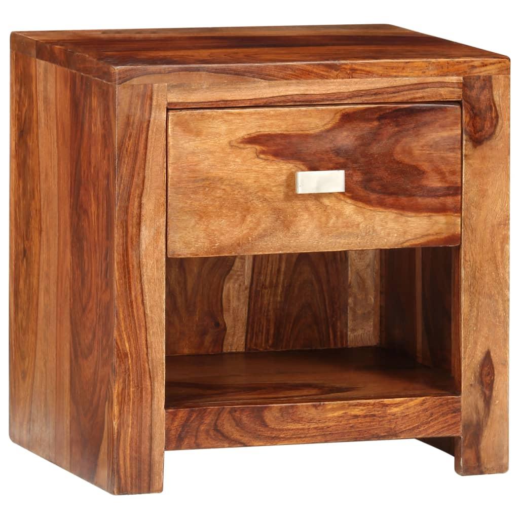vidaXL Szafka nocna z szufladą, lite drewno sheesham