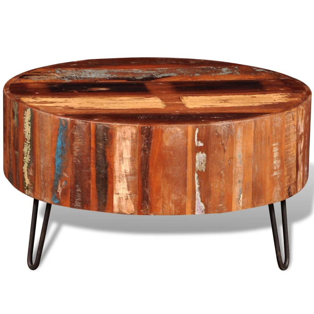 Solid wood round coffee table -  Reclaimed Solid Wood Round Coffee Table 4 8