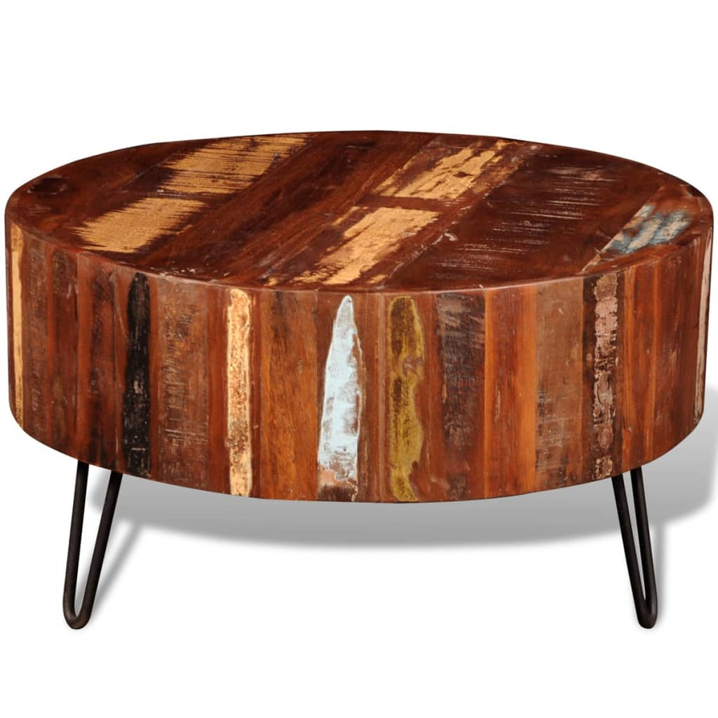 Solid Wood Curved Coffee Table: Reclaimed Solid Wood Round Coffee Table